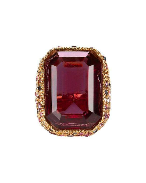 Kenneth Jay Lane Red Crystal Cocktail Ring