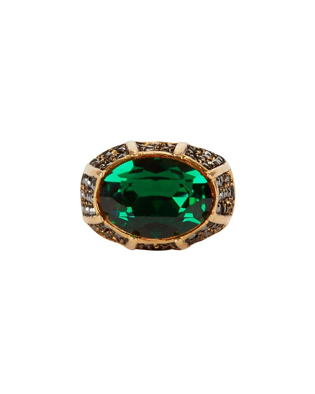 Kenneth Jay Lane Cocktail Ring: Green/Pyrite
