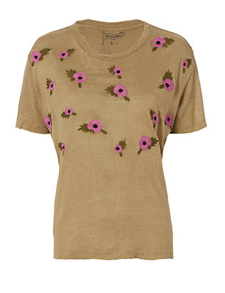 Bannerday Poppy Embroidered Tee: Army