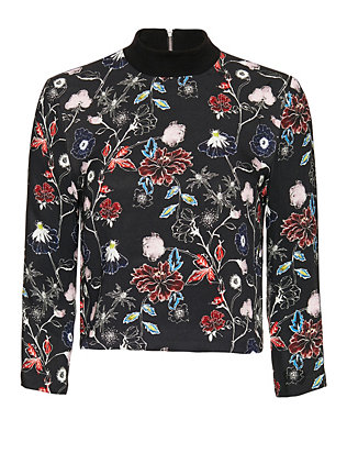 A.L.C. Desin Floral Print Zip Back Blouse