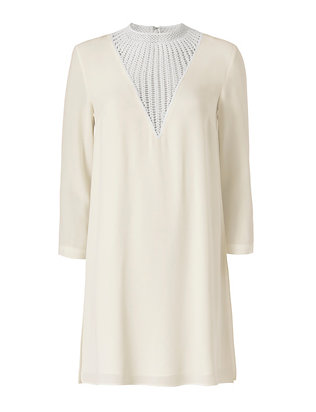 A.L.C. Crochet Trim Neckline Dress: White