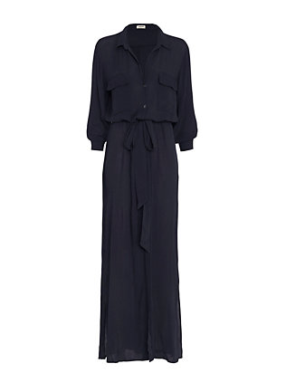 L'Agence Maxi Buttondown Dress: Navy