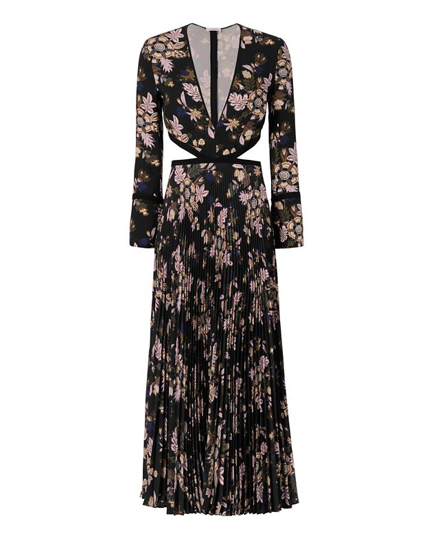 A.L.C. Josefa Cut Out Pleated Print Gown