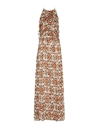L'Agence Adriana Ruffle Print Gown