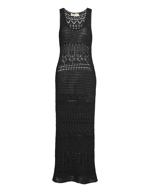 Emilio Pucci Sleeveless Crochet Maxi Dress: Black