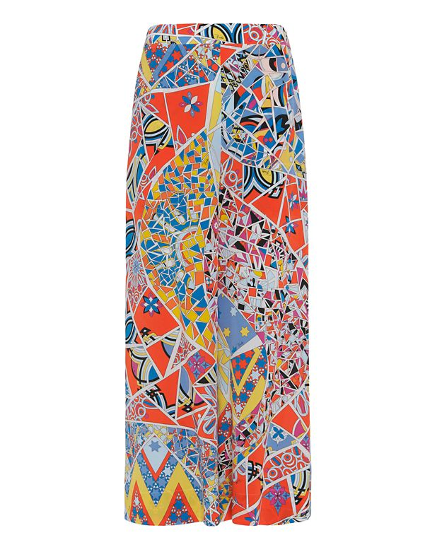 Emilio Pucci Abstract Print Ankle Wide Leg Trouser