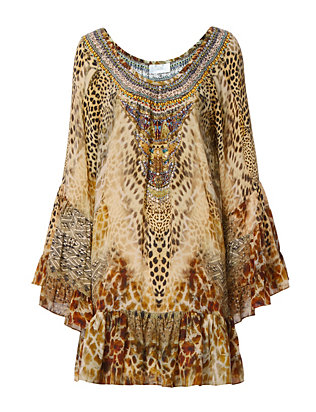 Leopard Print A-Line Frill Dress