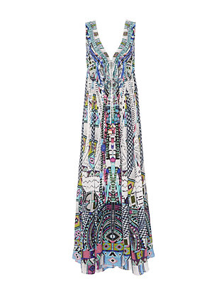 Maasai Mosh Drawstring Maxi Dress