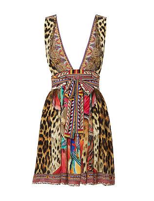 Kingdom Call V-Neck Mini Dress