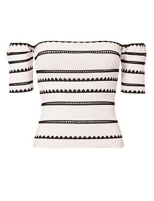 Off-The-Shoulder Stripe Patterned Top