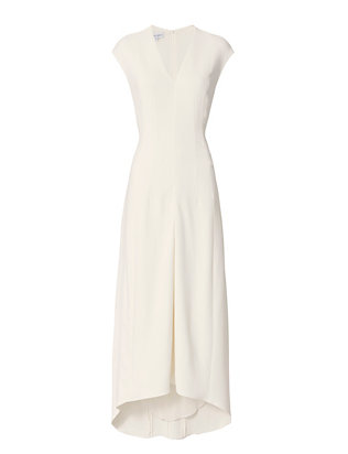 V-Neck Evening Gown: Ivory