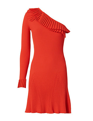 Single Sleeve Rib Knit Mini Dress: Red