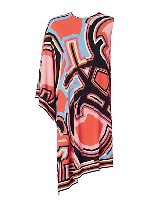 One Shoulder Print Dress: Coral