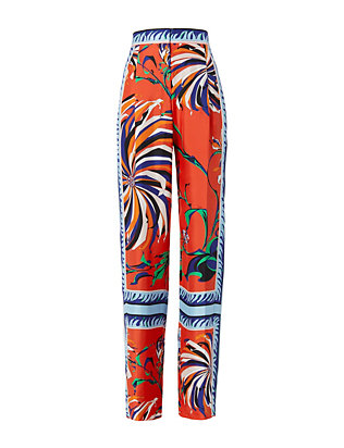 Abstract Print Silk Pant