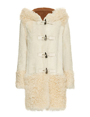 Yves Salomon Shearling Toggle Coat: Biscuit