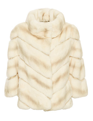 Yves Salomon Chevron Rex Rabbit Fur Swing Coat