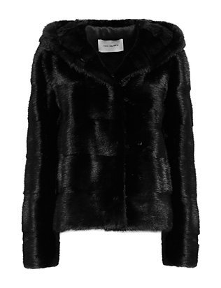 Yves Salomon Chevron Hooded Mink Fur Jacket: Navy