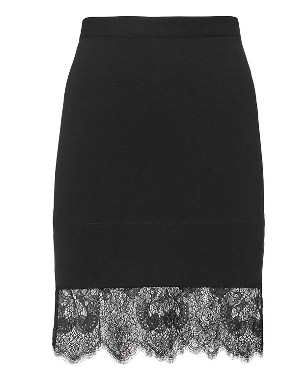 Carven Lace Hem Black Pencil Skirt