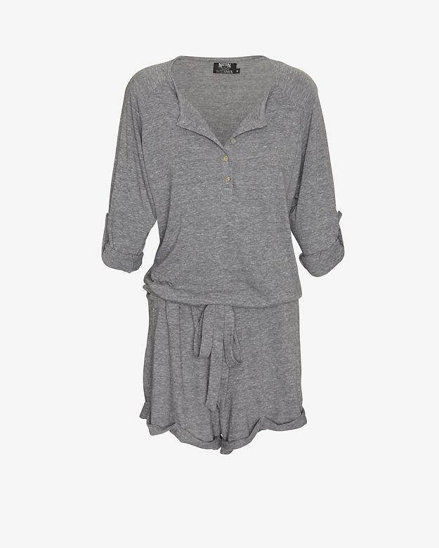 exclusive 		 	nation-ltd-exclusive-tab-roll-sleeve-henley-romper:-grey by nation-ltd