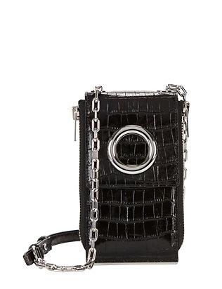 Riot Croc Embossed Leather Wallet Shoulder Bag