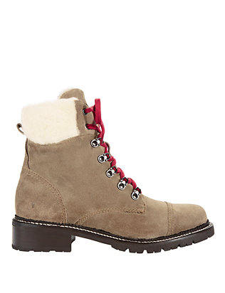 Samantha Shearling Lamb Trim Hiker Boots