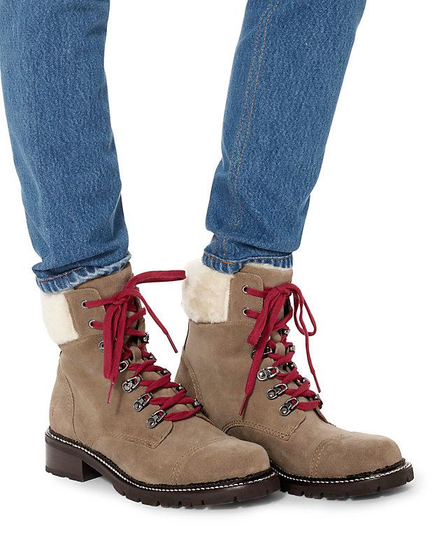 Frye Samantha Shearling Lamb Trim Hiker Boots Shop