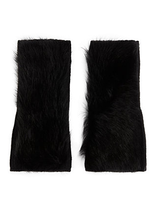 Shearling Lamb Fingerless Gloves: Black