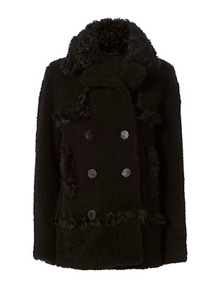 Yves Salomon Shearling Lamb Pea Coat