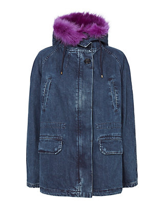 Yves Salomon Denim and Shearling Lamb Parka