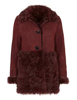 Yves Salomon Curly Shearling Lamb Coat