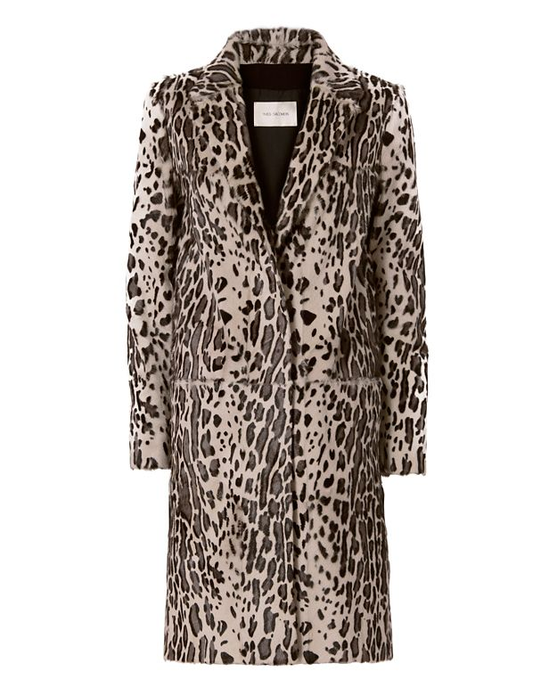 Yves Salomon Goat Hair Leopard Coat: Grey