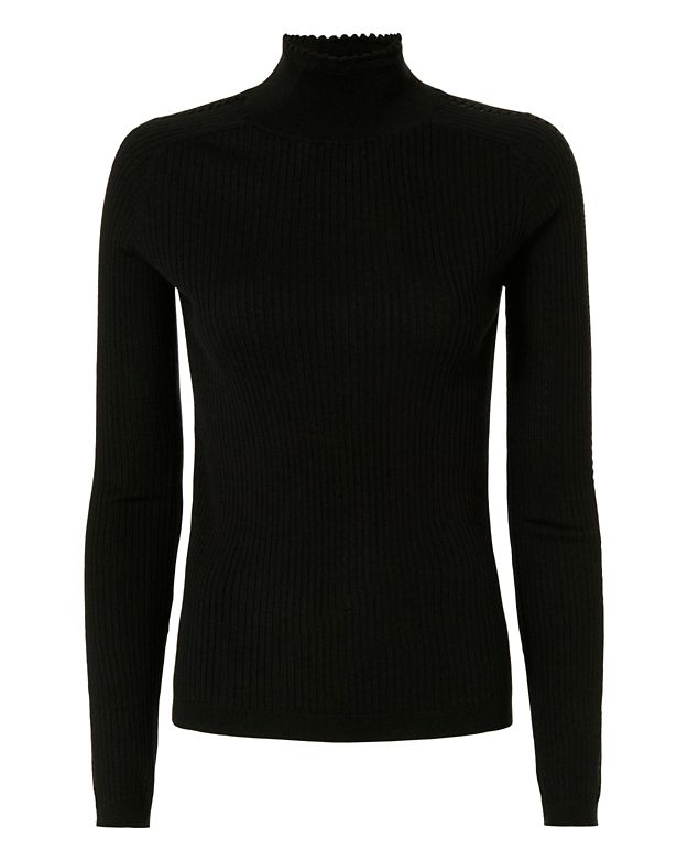 Carven Pointelle Sleeve Turtleneck