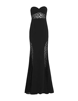 Jay Godfrey Lace Inset Strapless Gown: Black