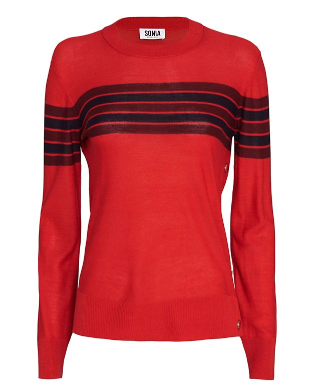 Sonia by Sonia Rykiel Button Side Striped Crewneck: Red