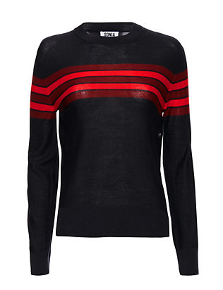 Sonia By Sonia Rykiel Button Side Striped Crewneck