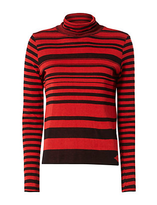 Sonia by Sonia Rykiel Striped Black/Red Turtleneck