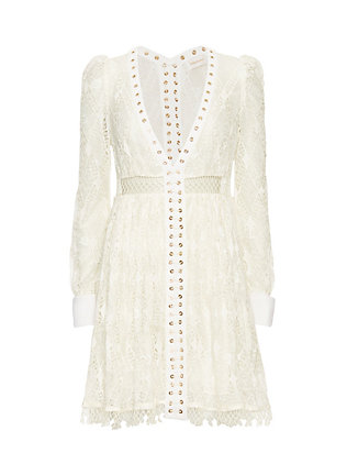 Zimmermann V Neck Lace Dress