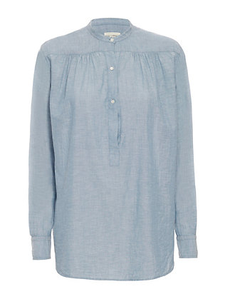 Nili Lotan Ruched Chambray Shirt