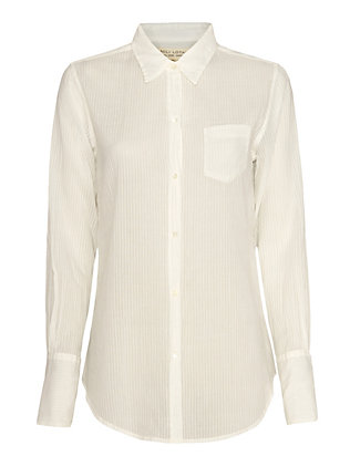 Nili Lotan Sheer Stripe Shirt: White