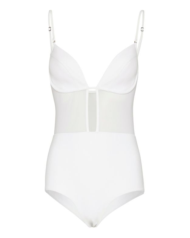 Zimmermann Ticking Bonded Tulip One Piece Swimsuit