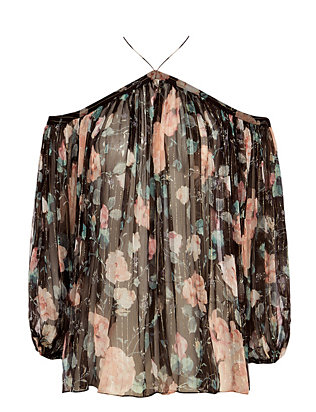 Zimmermann EXCLUSIVE Cut Out Shoulder Lurex Floral Print Blouse