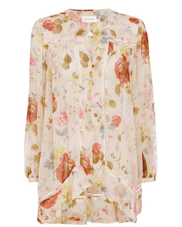 Zimmermann EXCLUSIVE Mischief Floral Print Swing Blouse