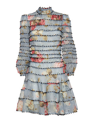 Zimmermann Beaded Flare Floral Print Dress