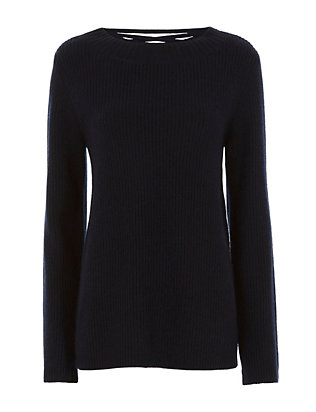 Markell Navy Lace-Up Back Sweater