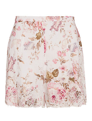 Zimmermann Eden High Waist Floral Shorts
