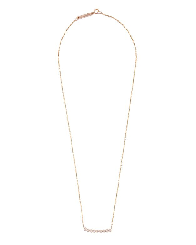 Zoe Chicco Crescent 9 Diamond Bezel Necklace