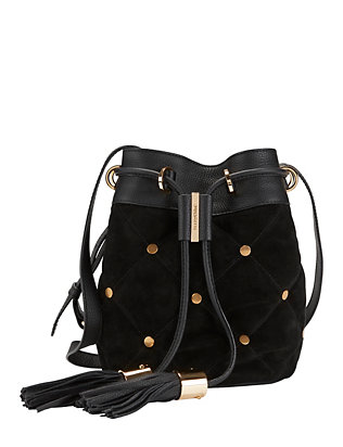 See By Chloe Quilted Stud Suede Bucket Bag: Black