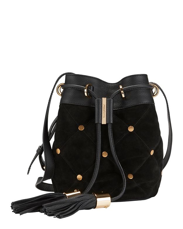See By Chloé Quilted Stud Suede Bucket Bag: Black