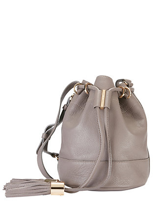 See By Chloe Tassel Leather Bucket Bag: Grey