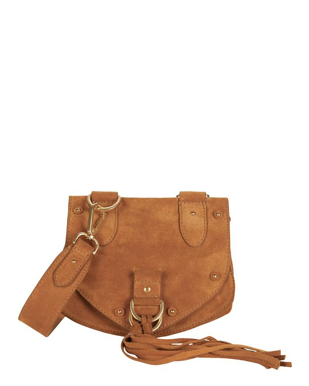 See By Chloé Studded Flap Suede Crossbody: Brown